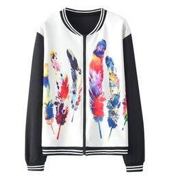 $enCountryForm.capitalKeyWord Australia - JAYCOSIN New Bomber Jacket Women Harajuku Cat Pilot Jacket Coat Casual Feather Printing Stitching Basic Baseball Jackets Outwear