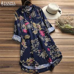 d8957dceb6cdae Zanzea 2019 Plus Size Shirt Women Floral Blouse Female Casual Button Shirts  Vintage Linen Blusas Bohemian Tops Chemise Vestidos T319052905