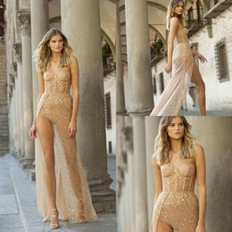 Berta evening gowns online shopping - 2020 Berta Prom Dresses Short Jumpsuit With Overskirt Sweetheart Sexy Evening Gowns Custom Made High Split Cocktail Dress Party Wear