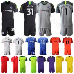 Soccer jerSey number kit online shopping - 19 Goalkeeper GK Goalie Soccer Kepa Arrizabalaga Jersey Set Willy Caballero Third Football Shirt Kits Uniform Custom Name Number