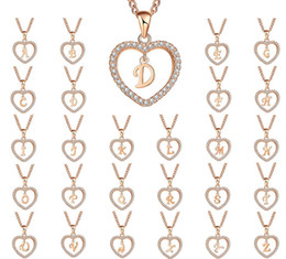 $enCountryForm.capitalKeyWord Australia - Newest A-Z initial Letter Love Heart pendant necklace with Cubic Zirconia for Women 26 letter pendant jewelry