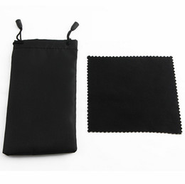 wholesale eyeglasses cleaner Australia - New Sunglasse Black CLeaning Cloth Pouch Soft Eyeglasses Bag Glasses Case Women and Man Sunglasses Bags +Cloth free shipping