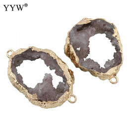 $enCountryForm.capitalKeyWord Australia - 5pcs lot connector ice quartz agates connector with gold color filled edge druzy charms for diy jewelry making necklace bracelet