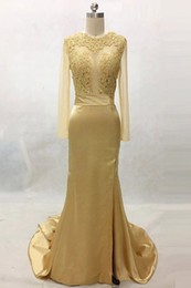 $enCountryForm.capitalKeyWord NZ - Bright Gold Prom Dresses Slits See Through Top Lace Sheer Long Sleeves Mermaid Evening Gowns Sexy backless Junior Prom Gown 2019 For Women