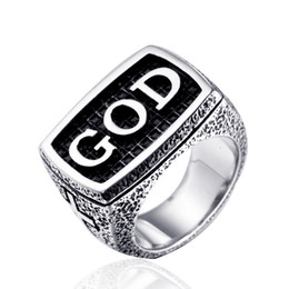 "Men Size 15 Rings Australia - Stainless steel never fade ring god classic jewelry men punk biker the word ""GOD""on ring the cross ring Size:US 7-15#"