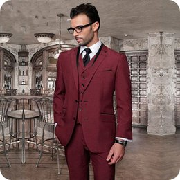 black burgundy wedding tuxedo NZ - Custom Made Burgundy Men Wedding Suits Man Blazer Jacket Latest Coat Pant Designs Groom Tuxedo 3Piece Slim Fit Costume Homme Groomsmen Suit