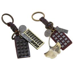 $enCountryForm.capitalKeyWord Australia - Retro Abacus Lotus Leaf Round Rectangle Keychain Bag Car Ornament Decor Key Ring New