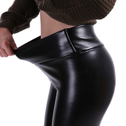 Women Warm Winter Thick Trousers Australia - S-5XL Women Plus Size Winter Leather Pants Warm Velvet Pant High Waist Trousers Women Thick Stretch Pantalon Femme