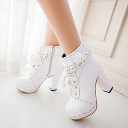 Discount white lolita shoes - SARAIRIS Ladies Ankle Boots Women Shoes Sweet Lace Lolita Lovely Cosplay Platform Ladies High Heels Boots Woman Plus Siz
