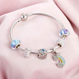 Ball Bangles Australia - Vintage Silver Color Charm Bracelet with Rainbow Pendant Heart of the Sea Crystal Ball Brand Bracelets & Bangles Fashion Jewelry