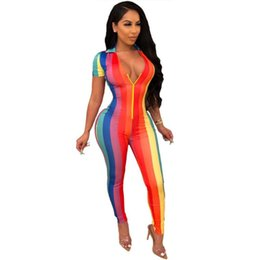 rainbow leggings NZ - Rainbow Striped Print Body Jumpsuit Women Summer 2020 Sexy Zipper V Neck Shorts Sleeve Leggings Bodycon Rompers Womens Jumpsuit