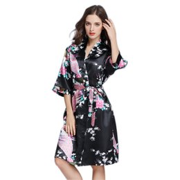 New Women's Sleepwear Women's summer simulation silk pajamas thin peacock printed robe in the sleeve size code home dress from clothing for bridesmaids manufacturers