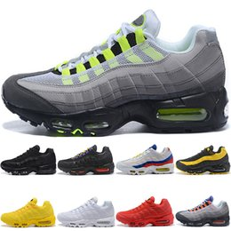 big sale 8e574 7d673 Top Quality Original 95 Running Shoes Frequency Triple Black White Yellow  Men Women Designer Shoes Trainer Outdoor Sports Sneaker Size 36-45