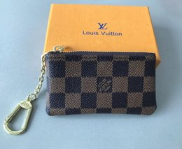 Wholesale Luxury Designer Women s Key Wallet Key Pouch Bag Charm France Famous Mono Gram Canvas Brown White Checkered Key Ring