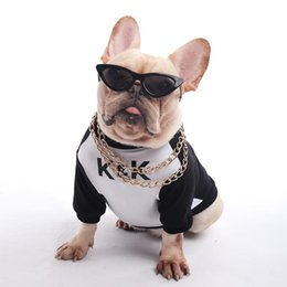 male clothing styles Canada - Dog coat KK uniform Teddy Law fight Small dog T-shirt Cotton letter printing Anti-hair loss Cat dog's clothes new style wholesale