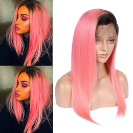straight human hair full lace wigs Australia - #1B Pink Ombre Straight Human Hair Lace Wigs Ombre Pink Brazilian Hair Lace Front Wigs 2Tone Ombre Glueless Full Lace Wigs 130 Density