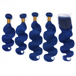 Pure Virgin Indian Hair Australia - Pure Blue Body Wave Indian Virgin Human Hair Weave 4Bundles with Closure Dark Blue Hair Wefts with 4x4 Lace Closure Piece 5Pcs Lot