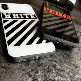 Discount acrylic mirror phone case - New HOT Fashion OFF Phone Case For iPhone XS Max XR Mirror tpu + Acrylic Pattern WHITE Cases Cover For iPhone X 10 XR XS