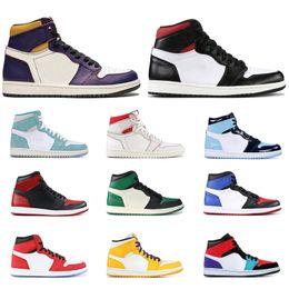 6b10fd93cf air jordan retro 1 Zapatillas de baloncesto para hombre baratas de 1 1s Oro  Top 3 Juego Royal Blue Court Púrpura Pino verde Criado Negro Prohibido Negro  Toe ...