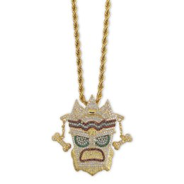 gold pendant for men singapore 2019 - Indian Style UKA Mask Pendant & Necklace PVD Plated Colorful Cubic Zirconia Charms for Men Hip Hop Copper Jewelry Gold C