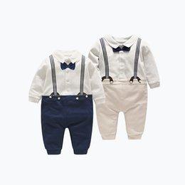 Gentleman Romper Jumpsuit Australia - 3pcs lot 100% Cotton 2 Colors Little Gentlemen Long Sleeve Newborn Baby Romper Jumpsuit for Boys