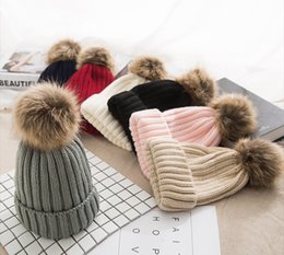 d75641e1570 Winter Pompom hat for Kids Ages 2-7 Knit Beanie winter baby hat for  children fur Pom Pom Hats for girls and boys