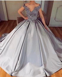 $enCountryForm.capitalKeyWord Australia - 2018 Silver Luxury Prom Dresses V Neck 3D Floral Lace Appliques Beaded Backless Off Shoulder Sweep Train Ball Gown Satin Evening Party Gowns