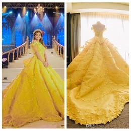 Navy ball caps online shopping - 2019 Yellow Prom Dresses Ball Gown D Floral Appliques Quinceanera Dresses Off Shoulder Lace Saudi Arabic Vestidos De Girls Party Gowns