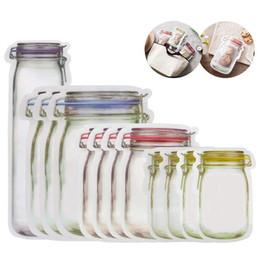 $enCountryForm.capitalKeyWord Australia - 100Pcs Portable Mason Jar Shape Food Zipper Sealed Storage Bag Kitchen Travel Food Snack Candy Storage Zipper Bag