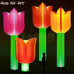 Decorazione gonfiabile della pianta di illuminazione a terra calda di vendita, tulipani / fiori gonfiabili infiammanti per il partito, la fase, l'evento o la promozione