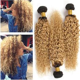1b 27 Human Hair Extensions NZ - Dark Root 1B 27 Honey Blonde Ombre Peruvian Virgin Human Hair Wefts Extensions Kinky Curly Strawberry Blonde Ombre Weave Bundles 3Pcs