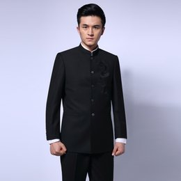 $enCountryForm.capitalKeyWord UK - Black Chinese Tunic Suit Men's Traditional Stand Collar Suits Apec Leader Costume Male Embroidery Dragon Totem Suit Blazer 16