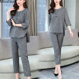 Two Piece Grey Suit Australia - Spring Summer Two Piece Sets Women Grey Wine Red 3 4 Sleeve Tops And Cropped Pants Suits Casual Office Elegant Women's Sets 2019