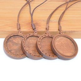 pendant trays Australia - Shukaki Fit 25mm Round Wood Cabochon Pendant Base Settings Dia Blank Wooden Pendant Trays Diy Jewelry Bezels With Leather Cord