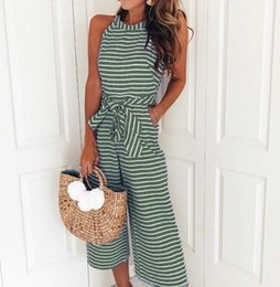 Fashion Jumpsuit Designs Australia - Europe and the United States new famous design fashion brand wild striped round neck bow sleeveless wide leg jumpsuit (free shipping)