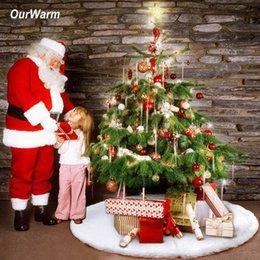 White Faux Fur Shorts Australia - OurWarm 48inch 122cm White Christmas Tree Skirt faux fur Plush Tree Skirt Christmas Carpet Decorations for New Year