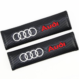 China 3D Embroidered Car Seat Belt Safety Shoulder Pad Cover Protector for AUDI Carbon Fiber Black cheap car cover fiber suppliers