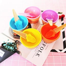 $enCountryForm.capitalKeyWord Australia - Wholesale Cute Ice Cream Bowl With a Spoon Kids Ice Cream Cup Couples Bowl Gifts Dessert Tools Colorful Plastic Children Tableware LX7730