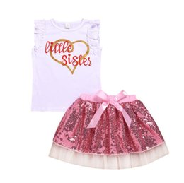 Wholesale kids sequined vests resale online - kids designer clothes girls New suit Two piece Loving Lace Vest Sequined Lace Skirt baby girl designer clothes Suit BY1007