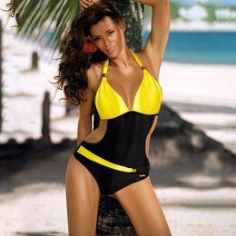Plus Sized Swim Wear Australia - Women One Piece Swimsuit Plus Size Swimwear Push Up Trikini Womens Swim V Neck Halter Monokini Bathing Suit Beach Wear Q190525