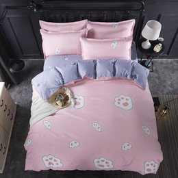 3d duvet set king size online shopping - Cat Paw Bedding Set Queen Size Lovely Fashionable Pink Duvet Cover King Twin Full Single Comfortable Bed Cover with Pillowcase
