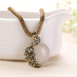 peacock chain necklace Australia - Bohemian Peacock Pendant Necklaces Gold Color Metal Long Chain White Crystal Stone Statement Necklaces for Women