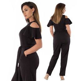 378b05471487 2019 Summer Fashion Ruffles Short Sleeve Jumpsuits Plus Size Redwine 5XL  6XL Women Off-shoulder Sashes Rompers Big Size Overalls 1176
