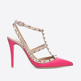 $enCountryForm.capitalKeyWord Australia - Designer Pointed Toe 2-Strap with Studs high heels matte Leather rivets Sandals Women Strappy Dress Shoes valentine high heel Shoes 10.