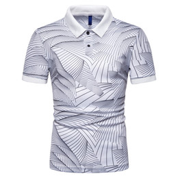 Polo Stripes Australia - Summer 2019 New Express Wholesale Fashion Stripe Printed Flip Collar Leisure Mens Short Sleeve POLO Shirt PL21