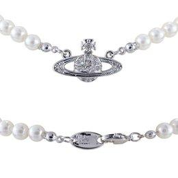 venda por atacado Moda marca colar feminino Ocidental Rainha Mãe Vivienne Vivienne Saturn colar de pérolas Clavícula Cadeia Punk Atmosfera
