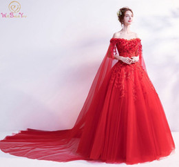 Short Red Lace Prom Vintage Dress Australia - Walk Beside You Red Evening Dresses Off Shoulder Flower Lace Applique Sequined Prom Gowns Chapel Train Vestidos Largos De Noche Y19042701