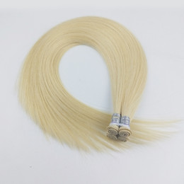 $enCountryForm.capitalKeyWord Australia - Hand Tied Hair Weft Silky Straight Hair Extensions Hand Made Human Hair Weaves Blonde Color 60gram
