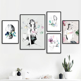 $enCountryForm.capitalKeyWord Australia - Paris Fashion Girl Watercolor Quote Nordic Posters And Prints Wall Art Print Canvas Painting Woman Wall Pictures For Living Room
