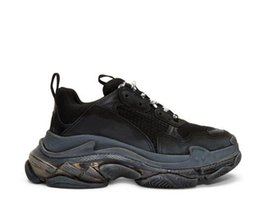 $enCountryForm.capitalKeyWord Australia - Unisex Black Triple S Clear Sole Sneakers Low-top Panelled Nubuck Buffed Leather Comfortable Breathable Triple Paris Trainers Shoes